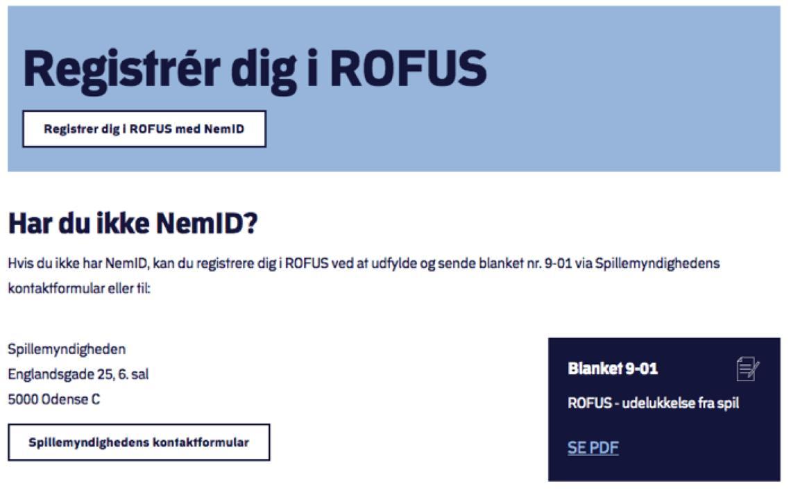 Registrér dig i ROFUS