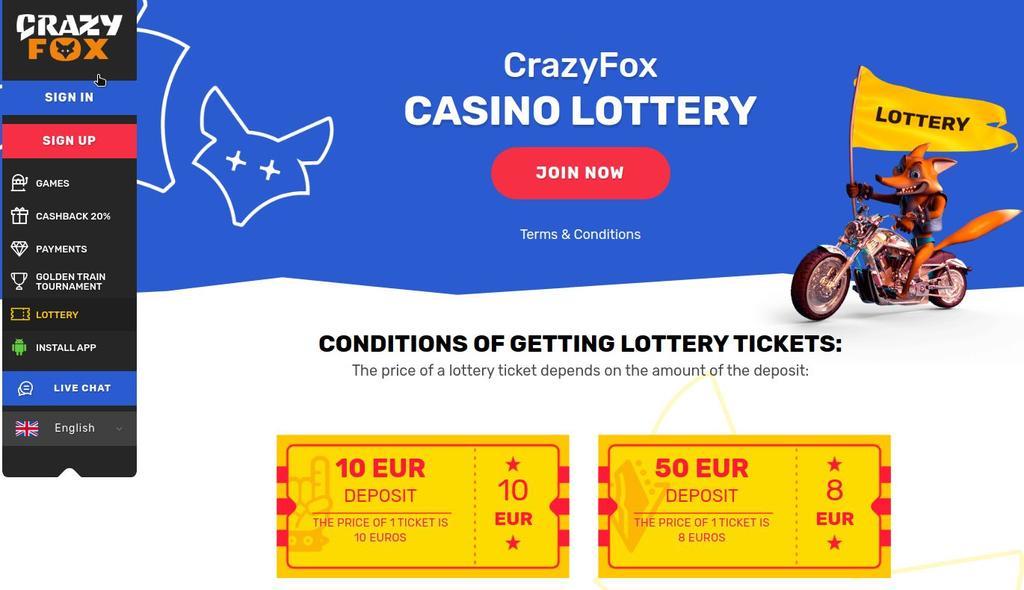 Crazy Fox Casino lottery