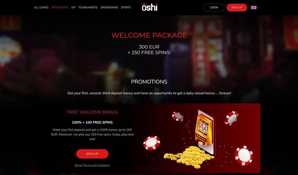 Velkomstbonus på Oshi Casino